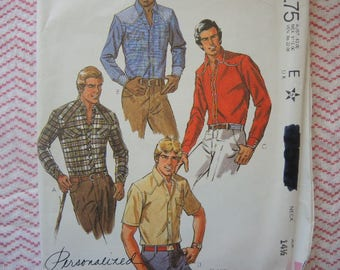 vintage 1980s McCalls sewing pattern 7547 Men's western style shirt size 36