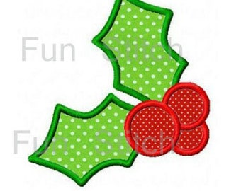 Christmas holly machine embroidery design applique