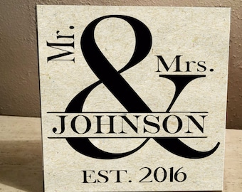 Mr & Mrs.Personalized Last Name and Est. Date 12x12 Ceramic Tile