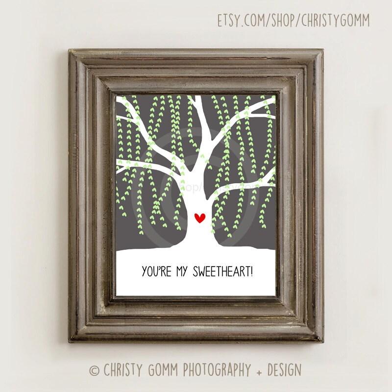 Weeping Willow Tree Wall Art 8x10 Printable Image Gray Grey