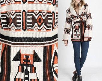 vintage 70s Southwestern Blanket Sweater Jacket Native Tribal Wrap Hippie Boho Coat hippie sweater boho sweater hippy sweater ethni sweater