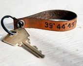 Latitude and Longitude Leather keychain - GPS coordinates - Loop Leather Keychain - Custom and Personalized - Made in America