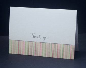 Pink and Green Stripe, Thank You greeting cards, set of 10, baby shower, bridal shower, wedding, thanks, snail mail, thank you stationery