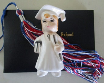 Vintage Graduation Girl Figurine