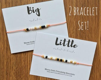 BIG AND LITTLE Two Bracelet Set - Morse Code Bracelets - Custom Friendship Bracelet Set - Waterproof