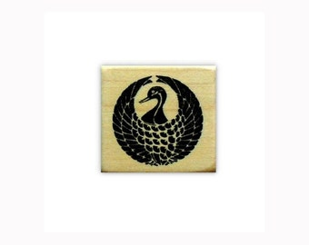CRANE Motif Mounted Japanese rubber stamp, mon, Asian, circle, Sweet Grass Stamps No.12