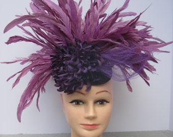 All Feathered Lavender with Flambuoyant Flower Headpiece
