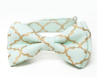 Mint and Gold, Quatrefoil Metallic Bow Tie for all ages - Pre-tied bowtie - ring bearer, wedding day, photo prop, church, party, holiday