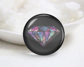 Handmade Round Diamond Photo Glass Cabochons (P3497)