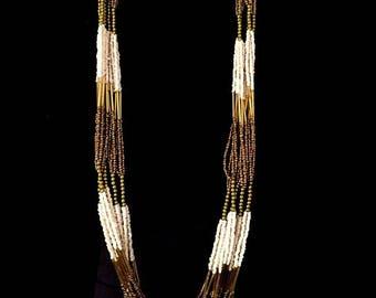 Vintage 1970's Long Multi Strand Beaded Necklace, Earth Tones, Native American Style, Boho, VisionsOfOlde