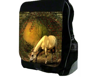 White Horse In The Wild - Large Black School Backpack