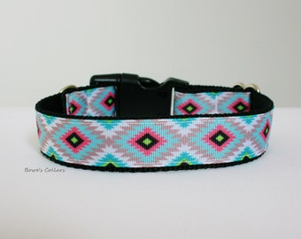 "Tribal Aztec Dog Collar or Matching Lead Leash Seat Belt 3/4"" or 1"" width"