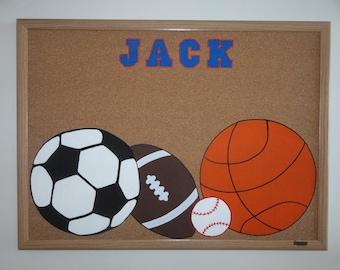 17 x 23 Inch Personalized Sports Bulletin Board; personalized corkboard
