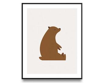 Sleepy Bear Print, Nursery Decor, Nursery Wall Art, Nursery Art, Animal Print, Nursery Artwork, Nursery Prints, Animal Art, Printable Art