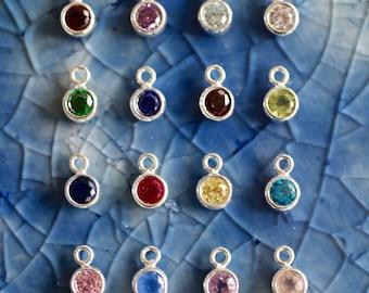 Birthstone Charm - Crystal Charm - Gemstone Charm - Sterling Silver Birthstone  - Birthstone - Birthstone Jewelry - Mom Gift - Birth Month