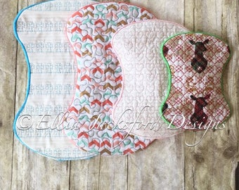 ITH Burp Rags - 5 x 7, 6 x 10, 7 x 11 and 8 x 12 Included -  5 DIFFERENT Designs Included - DIGITAL Embroidery Design