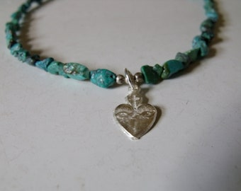 Sacred Heart Milagro Necklace with Turquoise Stones, Milagro necklace, Milagro jewelry, sacred heart necklace, sacred heart jewelry
