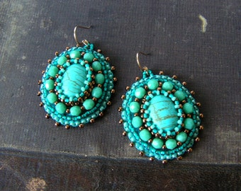 Turquoise Earrings Beadwork Earrings Bead embroidery Earrings Dangle Earrings Cabochon Earrings Turquoise Copper Jewelry MADE TO ORDER