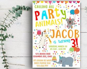 Animals Birthday Invitation, Safari Birthday Party Invitation, Animals Birthday Party , Party Animals Birthday Invitation, Zoo Animal Party
