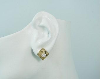 EARRING JACKETS for Studs Solid 14K Gold, Fused Edge Square Earring Jackets, Diamond Gemstone Stud Enhancer Earring Jacket J14KFESQSM