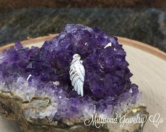 Angel Wing Charm, Angel Wing Pendant, Silver Plated Angel Wing Charm, Feather Charm, Silver Angel Wing Pendant