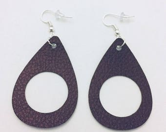 Faux Leather Teardrop Earrings, Trendy Leather Cut Out Earrings, Leather Dangle Earrings, Leather Drop Earrings, Silver Ear Wires