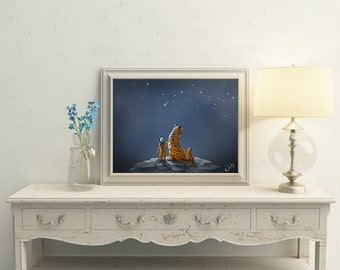 Kids room decor - Woodland Nursery Art - Tiger - Dreamy kids art - Nursery wall art - Childs room poster - Fairytale poster - Fantasy