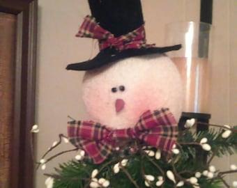 Handmade snowman tree toppers or shelf sitters