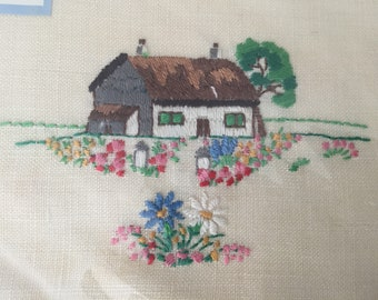Vintage Embroidered Tray Cloth - Irish Linen - Country Cottage - Original Box with Handwritten Message -