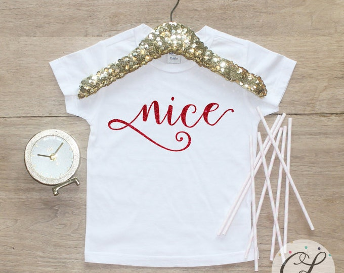 Nice Christmas Shirt / Baby Girl Clothes Baby's 1st Christmas Outfit First Xmas TShirt Holidays Naughty Sister Sibling Merry Shirt 141