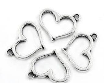 set of 10 charms / heart pendant made of 16 X 12.5 mm