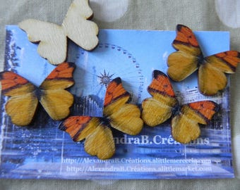 5 wooden 28 x 21 mm black and yellow butterflies