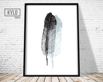 Printable Art, Feather Print, Wall Art, Digital Download, Office Decor, Home Decor, Feather Printable, Feather Art, Feather, Modern Print