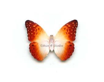 12 Small Paper Butterflies, Realistic 1 inch Paper Butterflies - Orange Pearl Butterfly