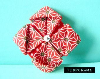 red lotus flower origami pin