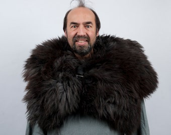 Genuine fur mantle black sheepskin capelet larp viking armor warcraft costume cosplay orc barbarian game of thrones sca medieval clothing