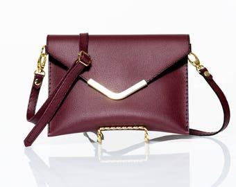 Burgundy Clutch Purse/Waist Bag/Fanny Pack