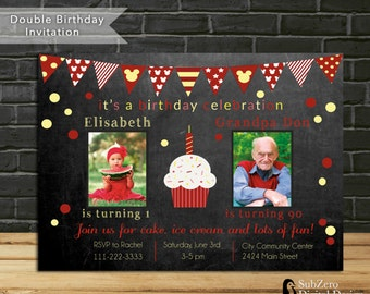 Double Birthday Invitation Red and Yellow Party Invitation 5x7 JPG Custom Photo Printable Invite