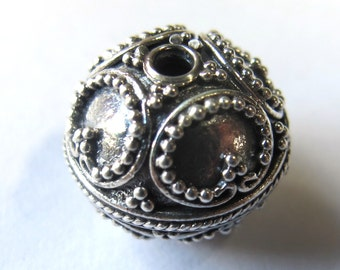MS NEW 13mm Round Beads (2) Lots of Granulation Bali Sterling Silver Fair Trade