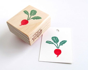 Radish Stamp, Hand Carved Vegetable Stamp