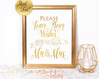 Gold Foil Wedding Sign - Please Leave Your Wishes for the New Mr and Mrs - Fun Sign