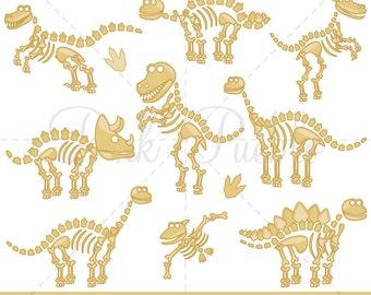 Dinosaur Bones Clipart, Dinosaur Clip Art, Dinosaur Clipart, Dinosaur Fossils Clipart Clip Art - Commercial and Personal