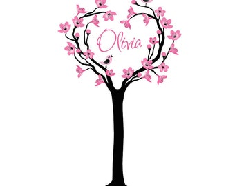 Cherry Tree Wall Decal Personalized with Name Nursery Decor Baby Children