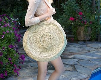 Palm Leaf Roundie with leather strap, straw bag, straw tote, round straw bag, Moroccan straw bag, wholesale Moroccan bags, beach bag, totes