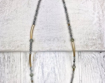 Labradorite, Pyrite and Brass Necklace