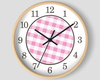 Pink Gingham Wall Clock - Pattern in Pink and White with Wood Frame - 10-inch Round Clock - Made to Order