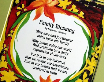 FAMILY BLESSING 11x14 Original Poetry Inspirational Quote Spiritual Meditation Home Decor House Blessing Heartful Art by Raphaella Vaisseau