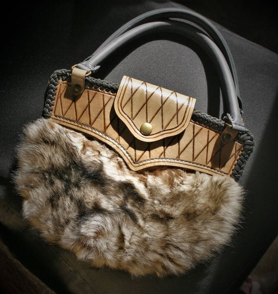 Leather and fur handbag, purse, luxury, for elegant and original woman, perfect gift