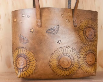Leather Tote with Sunflowers, Butterflies and Stars - Personalized with Inscription -  Antique Brown Leather with yellow and blue