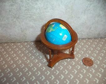 1:12 scale Dollhouse Miniature world globe on walnut color stand (New)